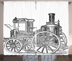 Nostaljik Çizim Araba Fon Perde Siyah Beyaz