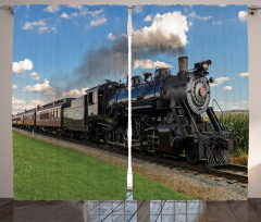 Buharlı Tren Temalı Fon Perde Mavi Nostaljik Şık