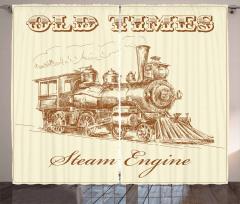 Buharlı Tren Temalı Fon Perde Bej Nostaljik Şık