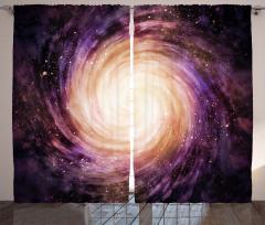 Mor Yıldızlar Desenli Fon Perde Uzay Temalı Şık