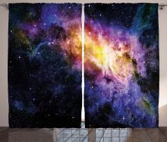 Parlak Yıldızlar Temalı Fon Perde Lacivert Uzay