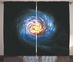 Kozmik Temalı Fon Perde Sarmal Desenli Mavi Uzay