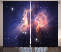 Uzay Temalı Fon Perde Pembe Galaksi Yıldız Şık