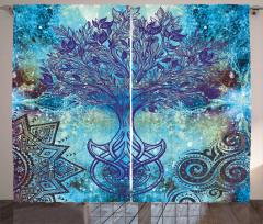 Mavi Ağaç Desenli Fon Perde Şık Tasarım Çeyizlik
