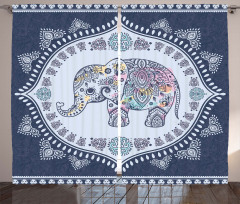 Sevimli Fil Desenli Fon Perde Mavi Beyaz Trend