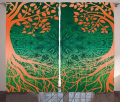Ağaç ve Çiçek Desenli Fon Perde Turuncu Yeşil Şık