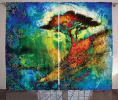 Kahverengi Ağaç Desenli Fon Perde Mavi Yeşil Şık
