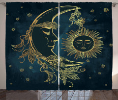 Aydede ve Güneş Desenli Fon Perde Yıldızlar