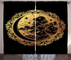 Yıldızlar Bulutlar ve Ay Fon Perde Geometrik