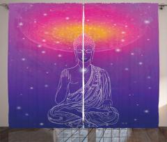 Budist Heykel Desenli Fon Perde Mistik Tasarım