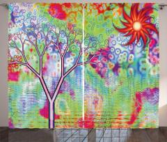 Ağacın Sudaki Yansıması Fon Perde Çiçekli