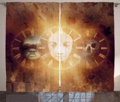Zamanın Yüzleri Desenli Fon Perde Kuru Kafalı