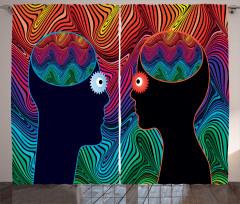 İnsan Yüzleri Desenli Fon Perde Kadın ve Erkek