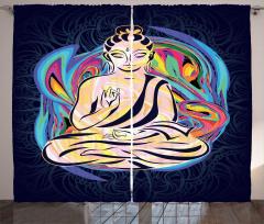 Kadın Buda Heykeli Desenli Fon Perde Rengarenk