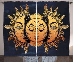 Güneşin Yüzü Desenli Fon Perde Sarı Lacivert