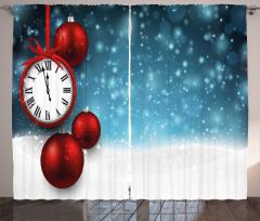 Yılbaşı Saati Desenli Fon Perde Mavi Kırmızı Şık