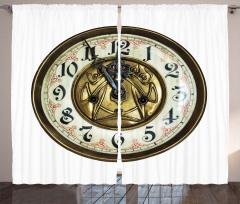 Nostaljik Saat Fon Perde Dekoratif Şık Tasarım