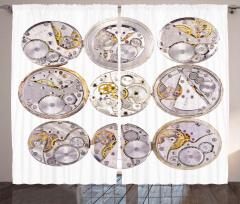 Saat Mekanizması Fon Perde Gri Altın Şık
