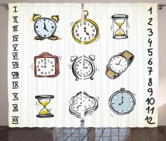 Nostaljik Saatler Fon Perde Dekoratif Şık Tasarım