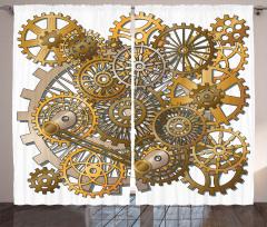 Kahverengi Çarklar Fon Perde Makine Şık Tasarım