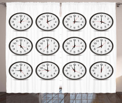 Günün Saatleri Desenli Fon Perde Siyah Beyaz Şık