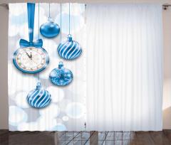 Mavi Yılbaşı Topları Fon Perde Dekoratif Şık