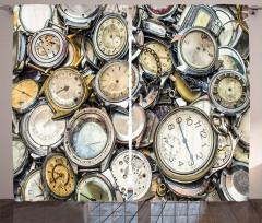 Altın Saatler Desenli Fon Perde Nostaljik Şık
