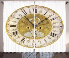 Nostaljik Saat Desenli Fon Perde Dekoratif Şık