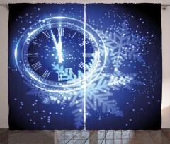 Yılbaşı Saati Desenli Fon Perde Dekoratif Şık