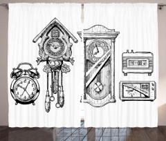 Eski ve Yeni Saatler Fon Perde Siyah Beyaz Şık