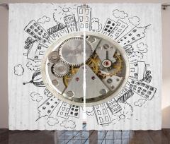 Gümüş Saat ve Evler Fon Perde Dekoratif Şık
