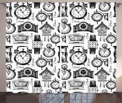 Siyah Nostaljik Saatler Fon Perde Dekoratif Şık