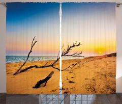 Denizde Gün Batımı Fon Perde Kahverengi Kumsal