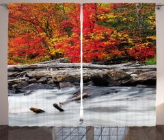 Kırmızı Yapraklı Orman Fon Perde Nehir Doğa