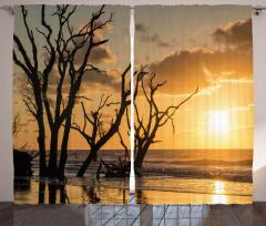 Denizdeki Ağaçlar Fon Perde Sarı Gün Batımı