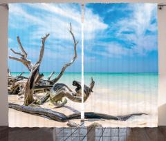 Turkuaz Deniz ve Dal Fon Perde Bulut Gökyüzü