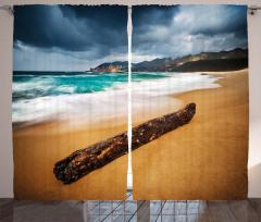 Kahverengi Kumdaki Dal Fon Perde Deniz Gökyüzü