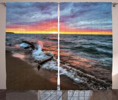 Mavi Denizde Gün Batımı Fon Perde Bulutlu Gökyüzü