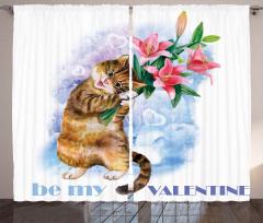 Çiçekli Kedi Desenli Fon Perde Dekoratif Şık