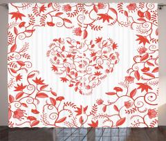 Çiçekten Kalp Desenli Fon Perde Romantik Şık