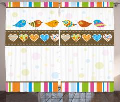 Kuşlar ve Kalp Desenli Fon Perde Rengarenk Şık