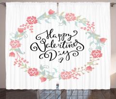 Pembe Çiçekli Desen Fon Perde Dekoratif Romantik