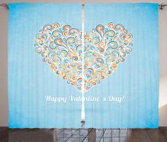 Dekoratif Kalp Desenli Fon Perde Mavi Fonlu Şık