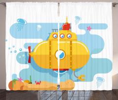 Yengeç ve Denizaltı Fon Perde Dekoratif Şık