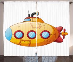 Sarı Mavi Denizaltı Fon Perde Dekoratif Şık