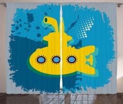 Nostaljik Denizaltı Fon Perde Sarı Şık Tasarım