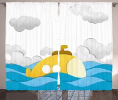 Bulutlar ve Denizaltı Fon Perde Sarı Mavi Şık