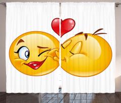 Aşık Emojiler Fon Perde Romantik Dekoratif