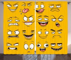 Binbir Surat Emojiler Fon Perde Dekoratif Şık