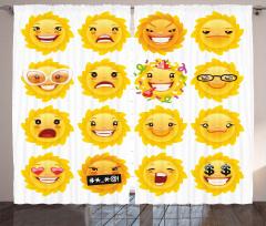 Çiçekli Emojiler Fon Perde Sarı Dekoratif